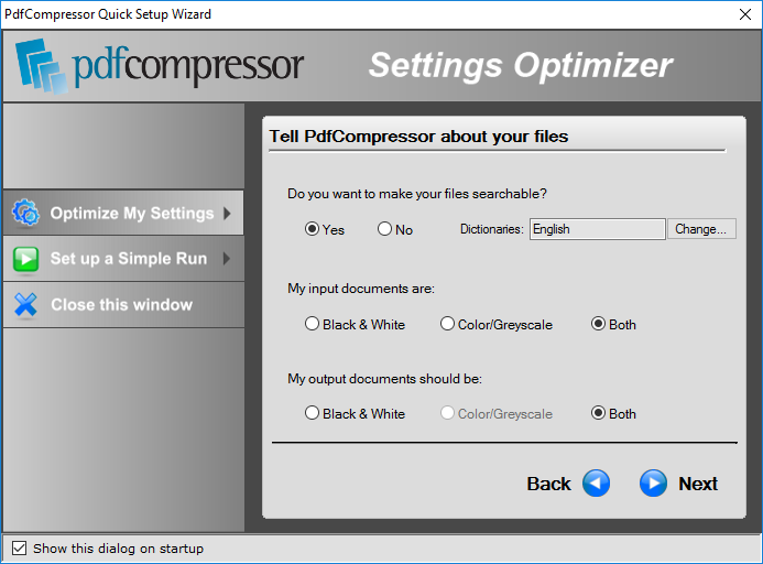Optimize Settings for Best Compression Method