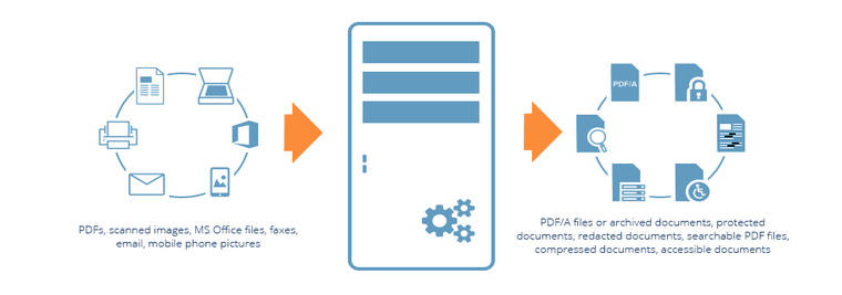 Robust PDF software solution to convert omnichannel inputs into PDF/A files, redacted documents, text-searchable PDFs with OCR, compressed documents to reduce PDF size, and more.